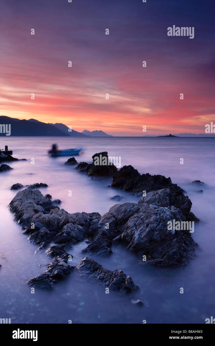Orebic at Dawn, Pelješac Peninsula, Dalmatia, Croatia - Stock Image