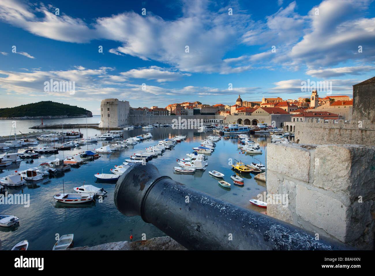 old town harbour Dubrovnik Dalmatia Croatia - Stock Image