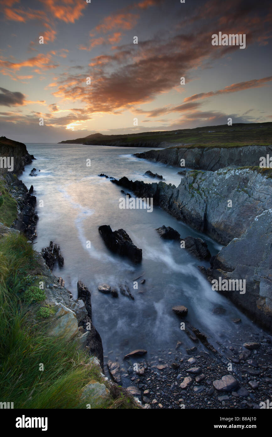 dusk at Dooneen Head with Sheeps Head beyond, Bantry Bay, County Cork, Ireland - Stock Image