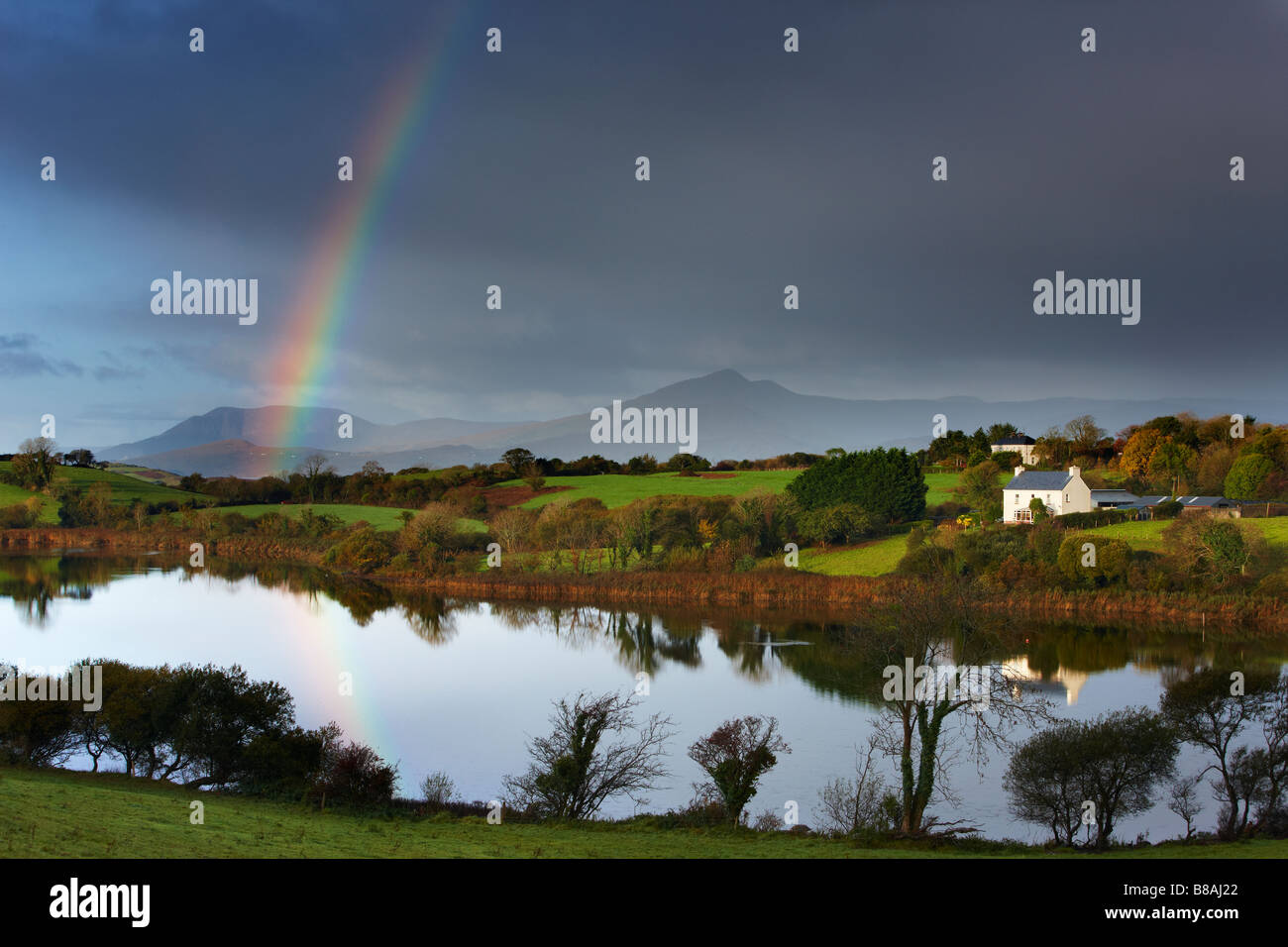 dawn over Bantry Bay, with a rainbow nr Bantry, County Cork, Ireland - Stock Image