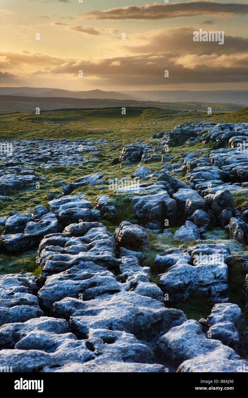 frost on a limestone pavement at Ing Scar above Malham Cove, Yorkshire Dales National Park, Yorkshire, England, - Stock Image