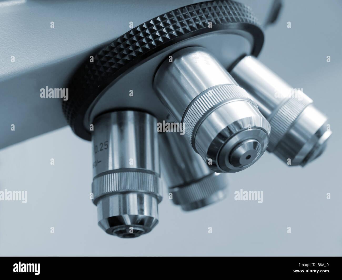 Closeup shot of electronic microscope revolving nosepiece - Stock Image