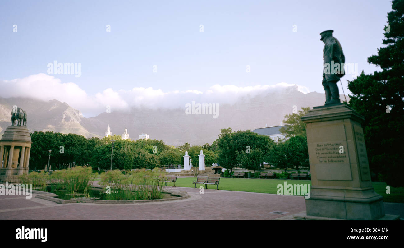 Company's Gardens and Table Mountain in Cape Town in South Africa in Sub Saharan Africa. Apartheid African Panoramic - Stock Image