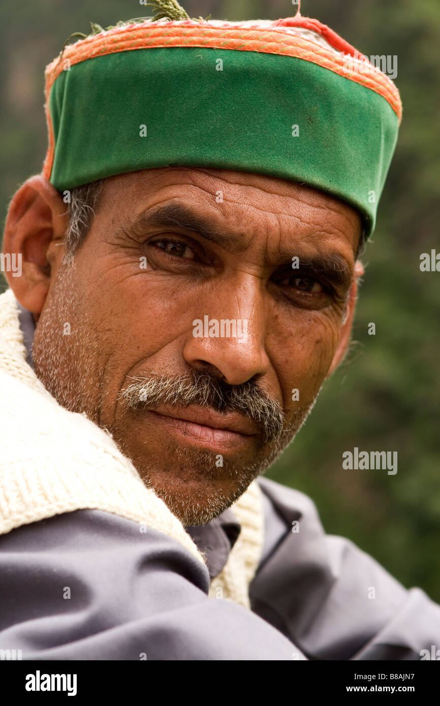 A man from Himachal Pradesh in northern India wears a traditional kullu hat. a09b371d1