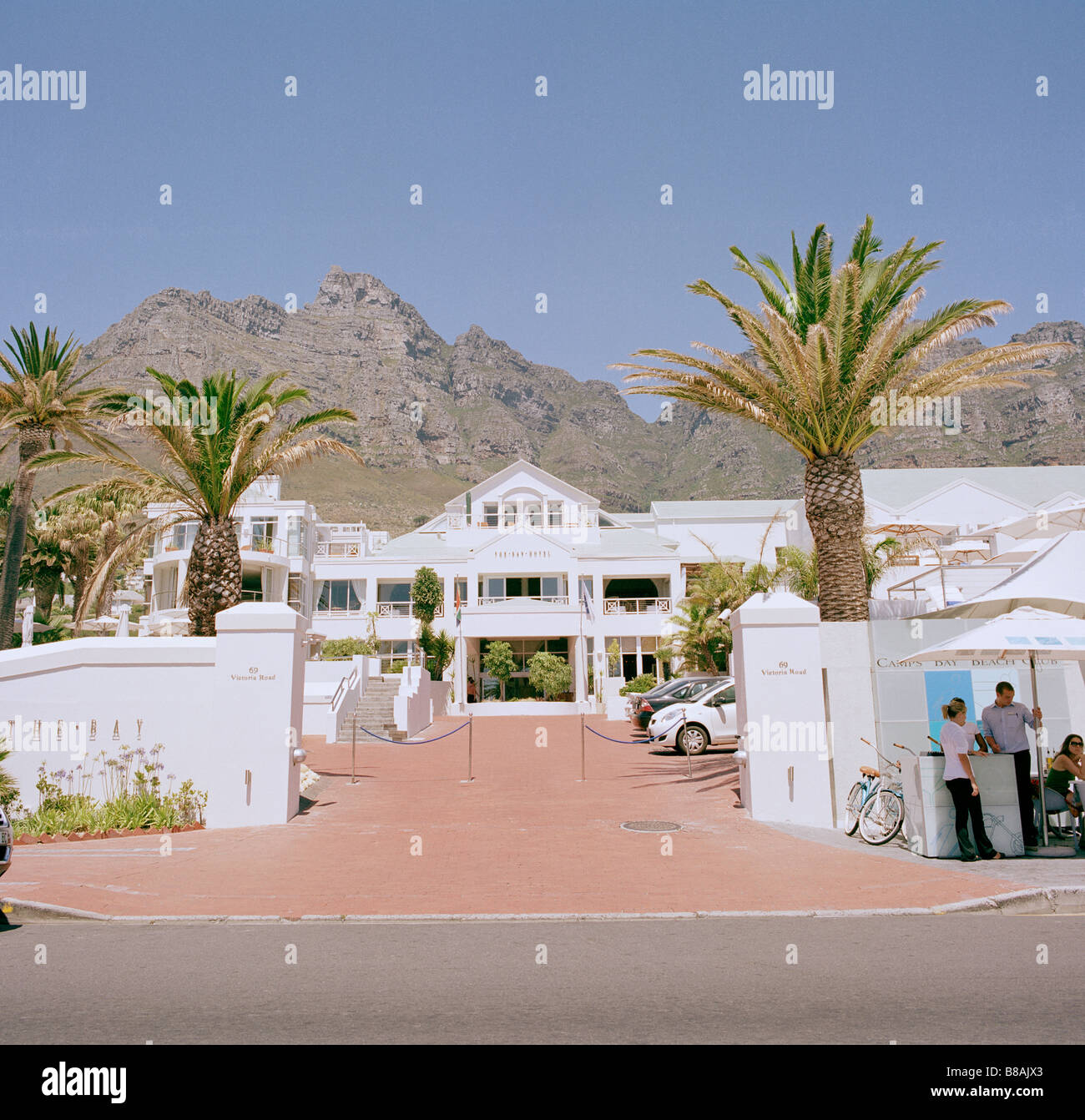 Camps Bay Hotel at Camps Bay in Cape Town in South Africa in Sub Saharan Africa. Tourism Tourist Holiday Vacation - Stock Image