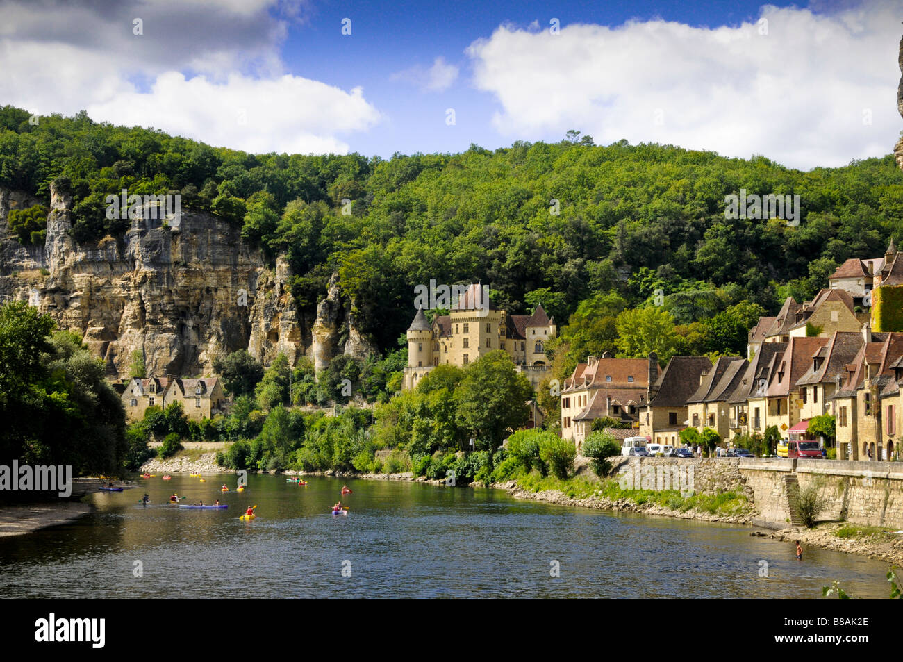 A river scene in the Dordogne region of France, La Roque-Gageac Stock Photo