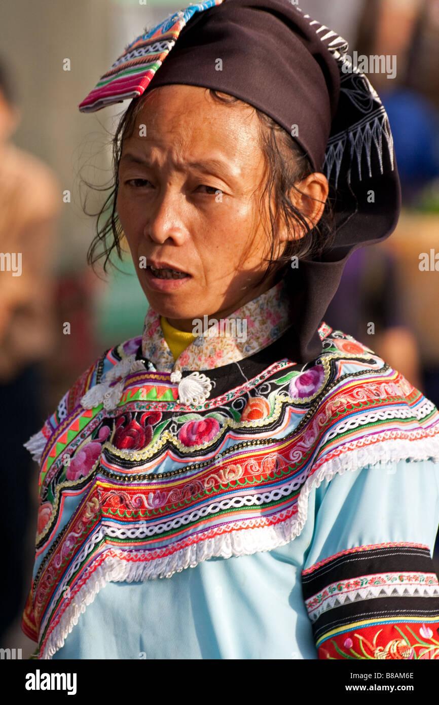 Yi tribeswoman in Yuanyuang, Yunnan, China - Stock Image