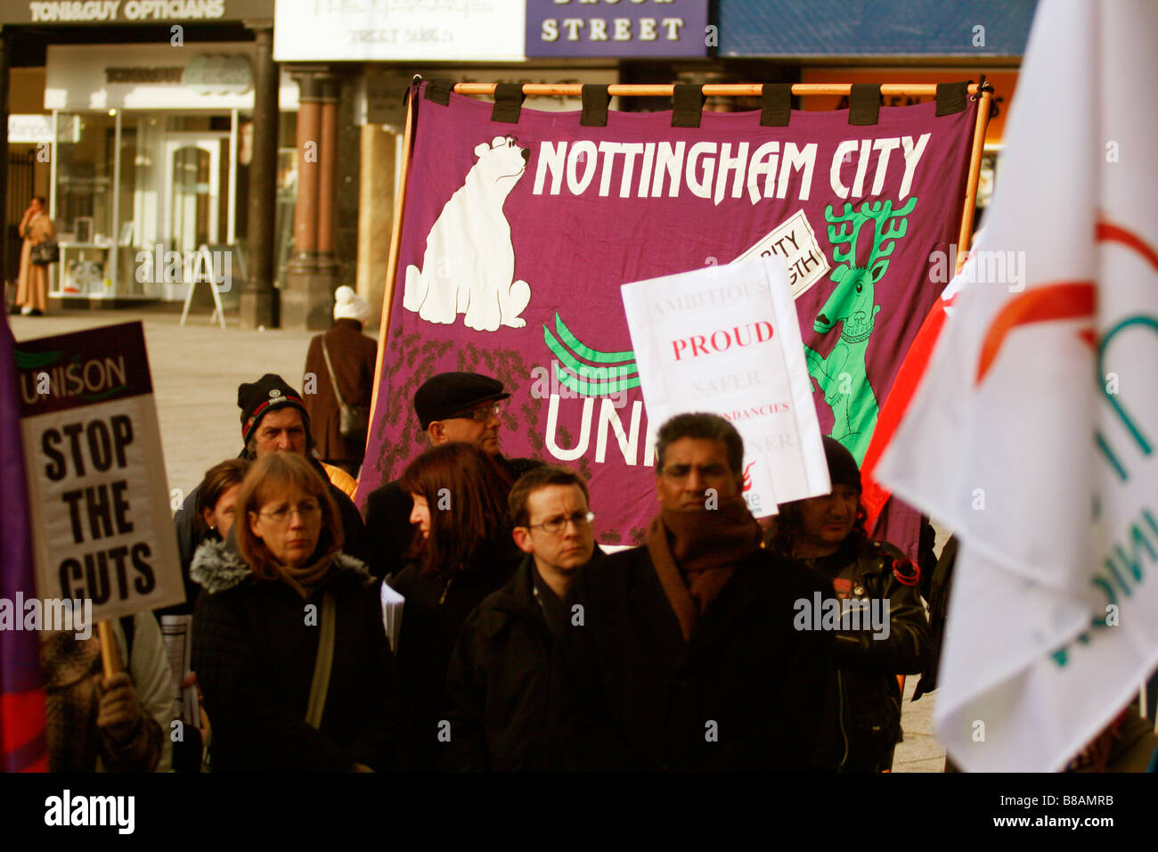 Unison banner JOINT TRADE UNION LOBBY 1 00 2 00 pm Tuesday 3 February 2009 Outside the Council House Old Market - Stock Image