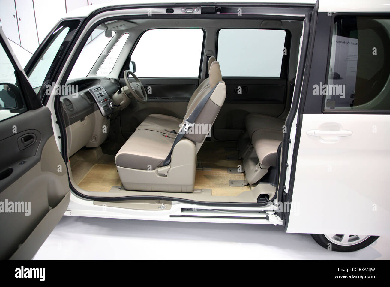 Spacious interior of small Japanese city concept car on show in Science Museum, London - Stock Image