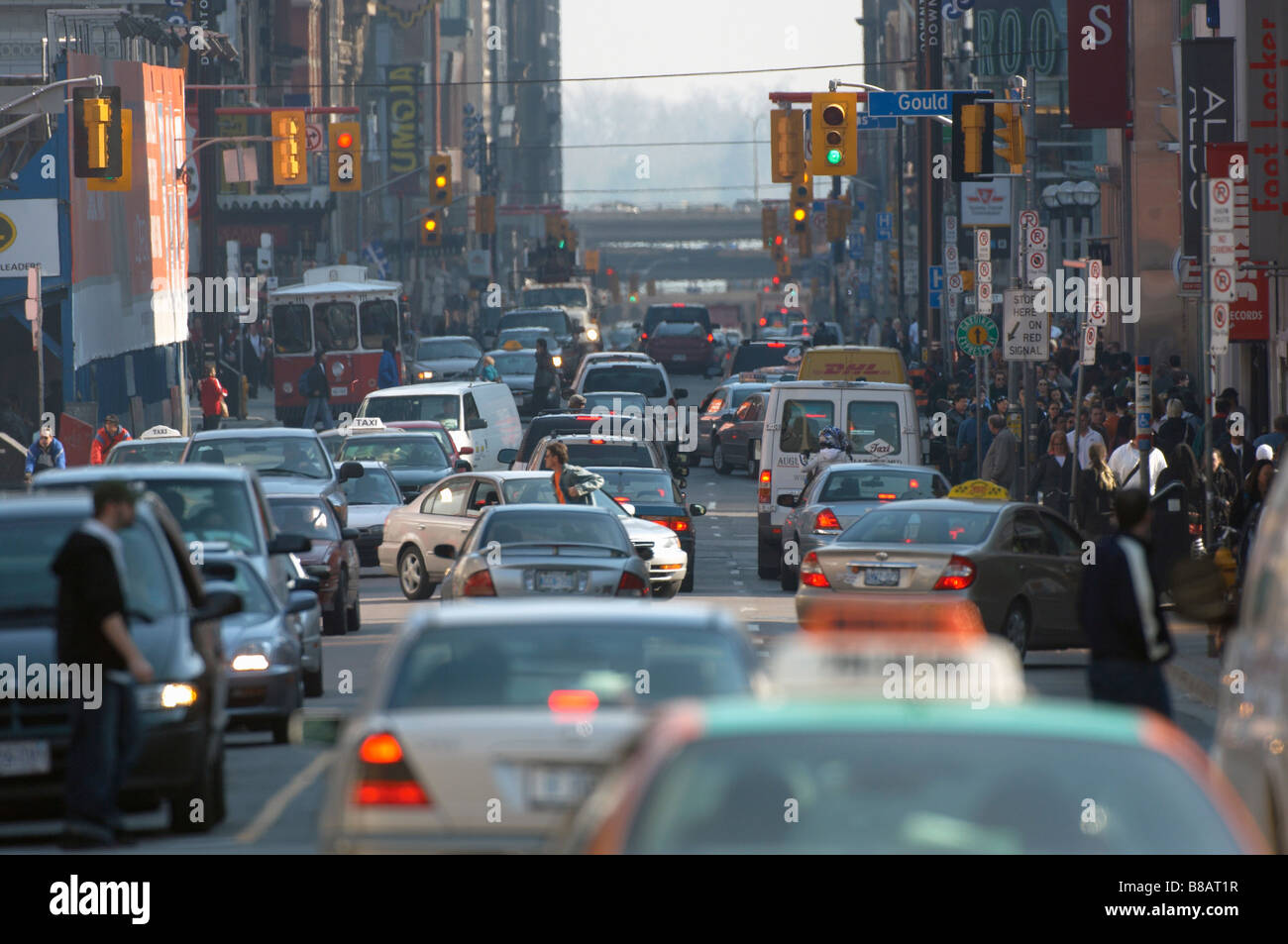 Busy Yonge St   Gould St  Intersection, Toronto,Ontario - Stock Image