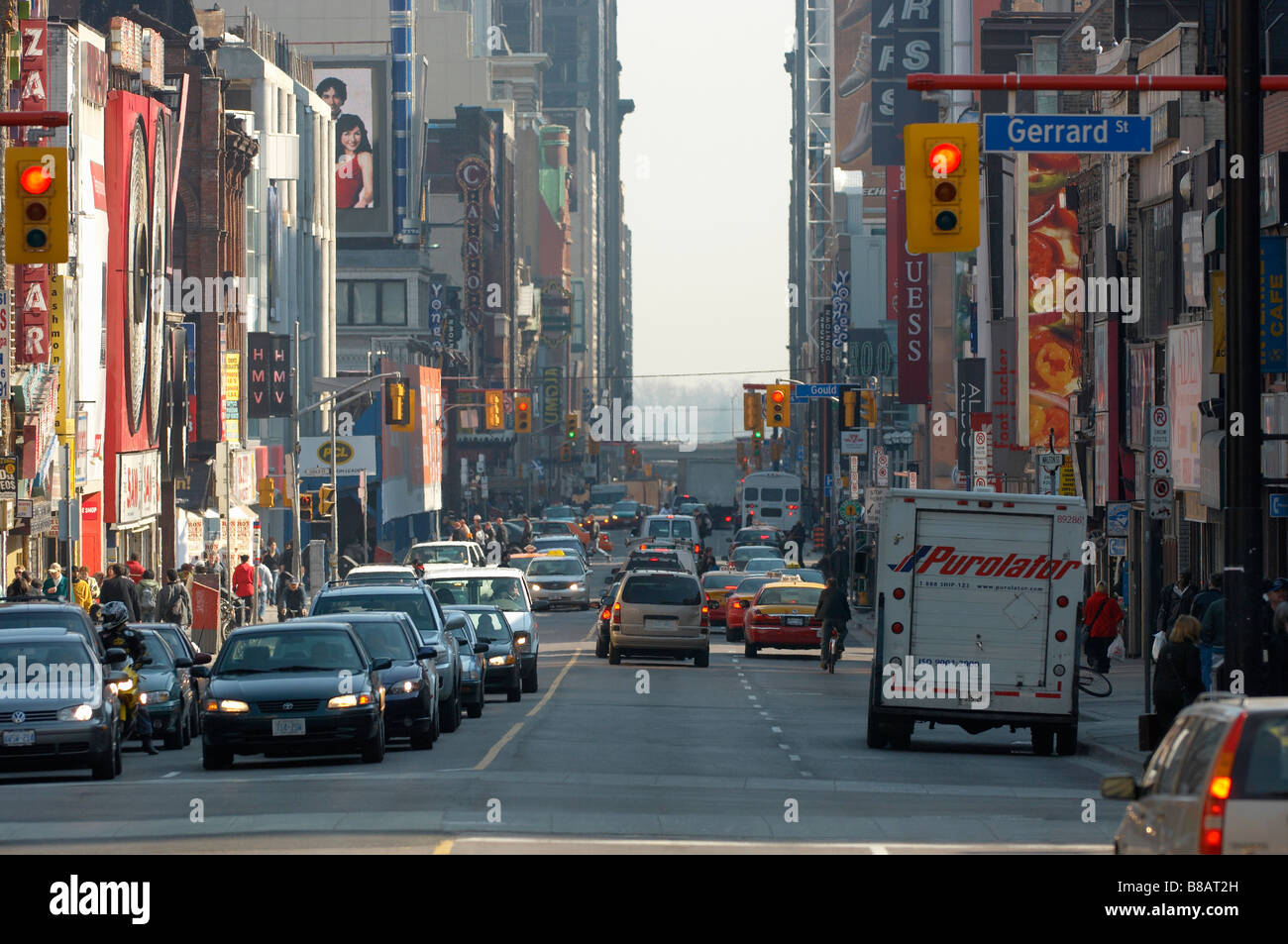 Busy Yonge St   Gerrard St  Intersection, Toronto,Ontario - Stock Image