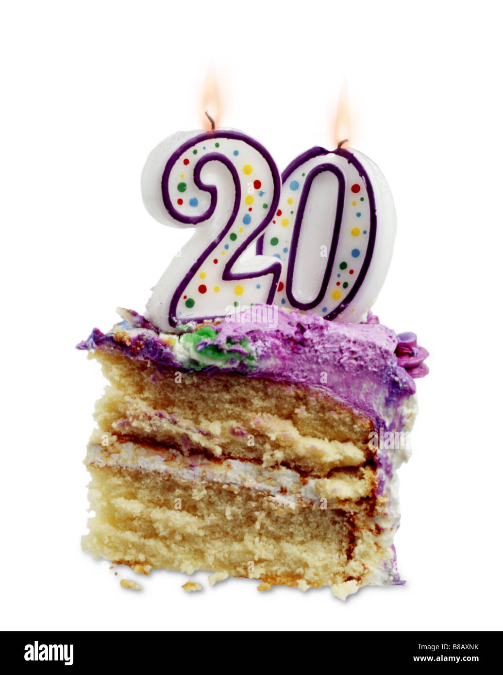 Piece Birthday Cake 20 Candles Stock Photo 22368127 Alamy