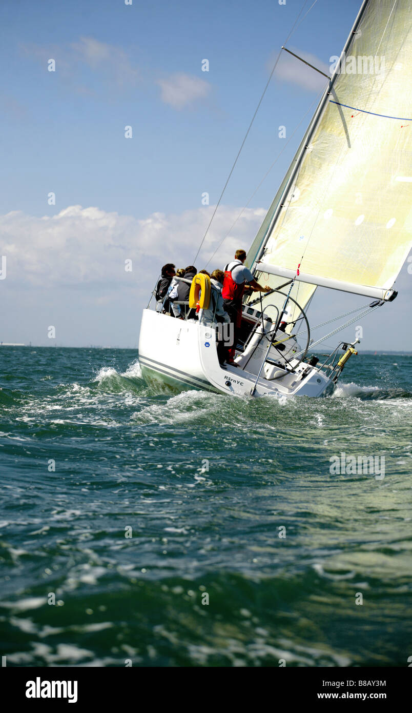 Crew sailing on the Solent, England,Europe. - Stock Image