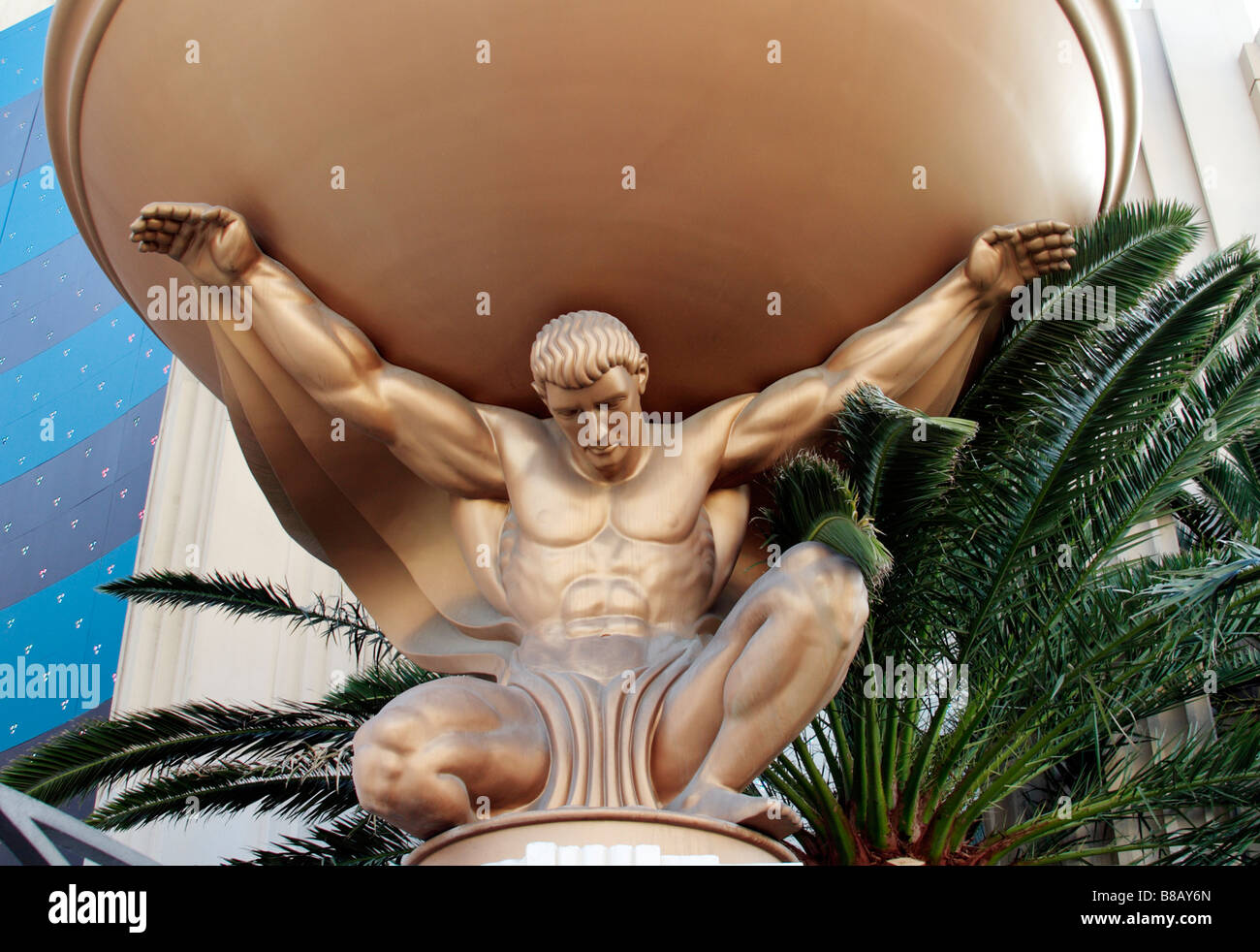Golden Statue at MGM Grand Hotel in Las Vegas Nevada USA - Stock Image