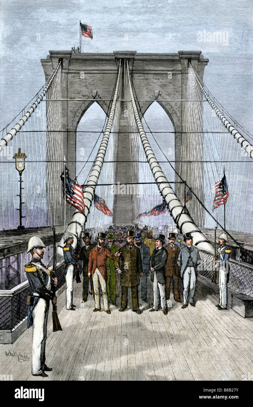 President Chester A Arthur presiding over the opening of the Brooklyn Bridge 1883. Hand-colored woodcut - Stock Image