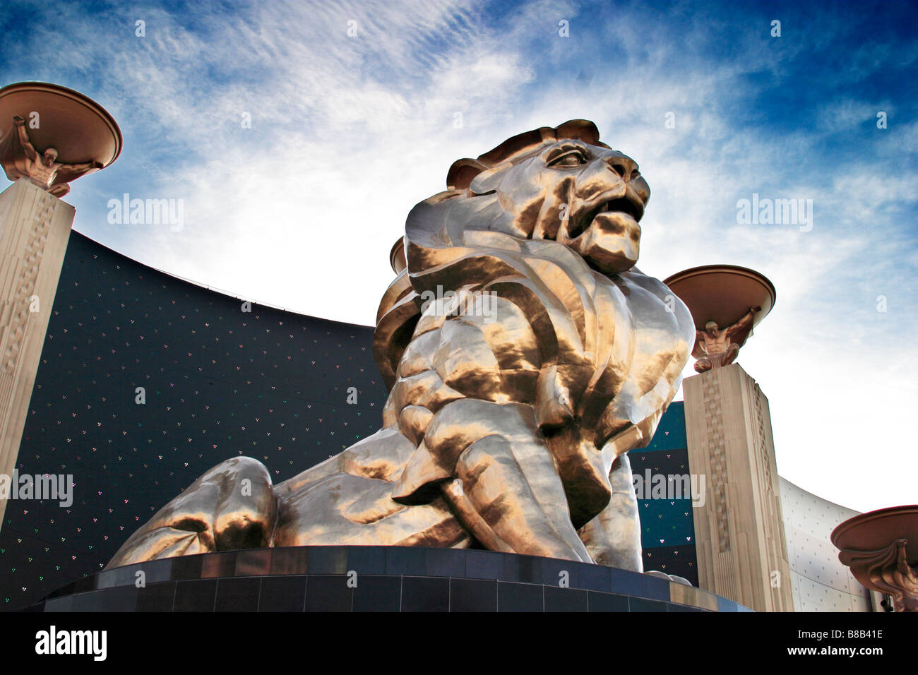 Golden Lion at MGM Grand Hotel in Las Vegas Nevada USA - Stock Image