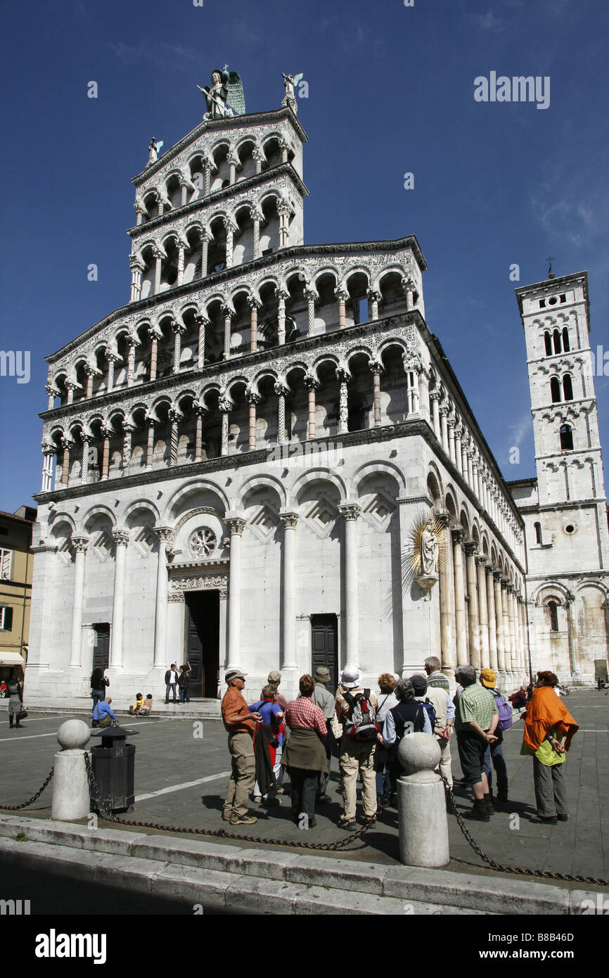 San Michele in Foro, Lucca, Tuscany, Italy - Stock Image