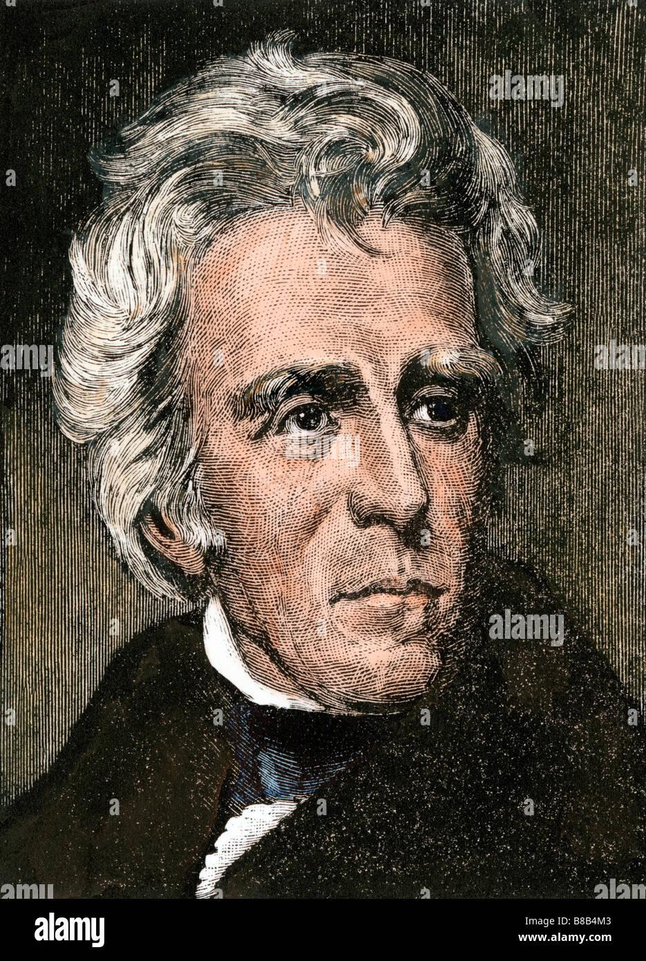 US President Andrew Jackson. Hand-colored woodcut - Stock Image
