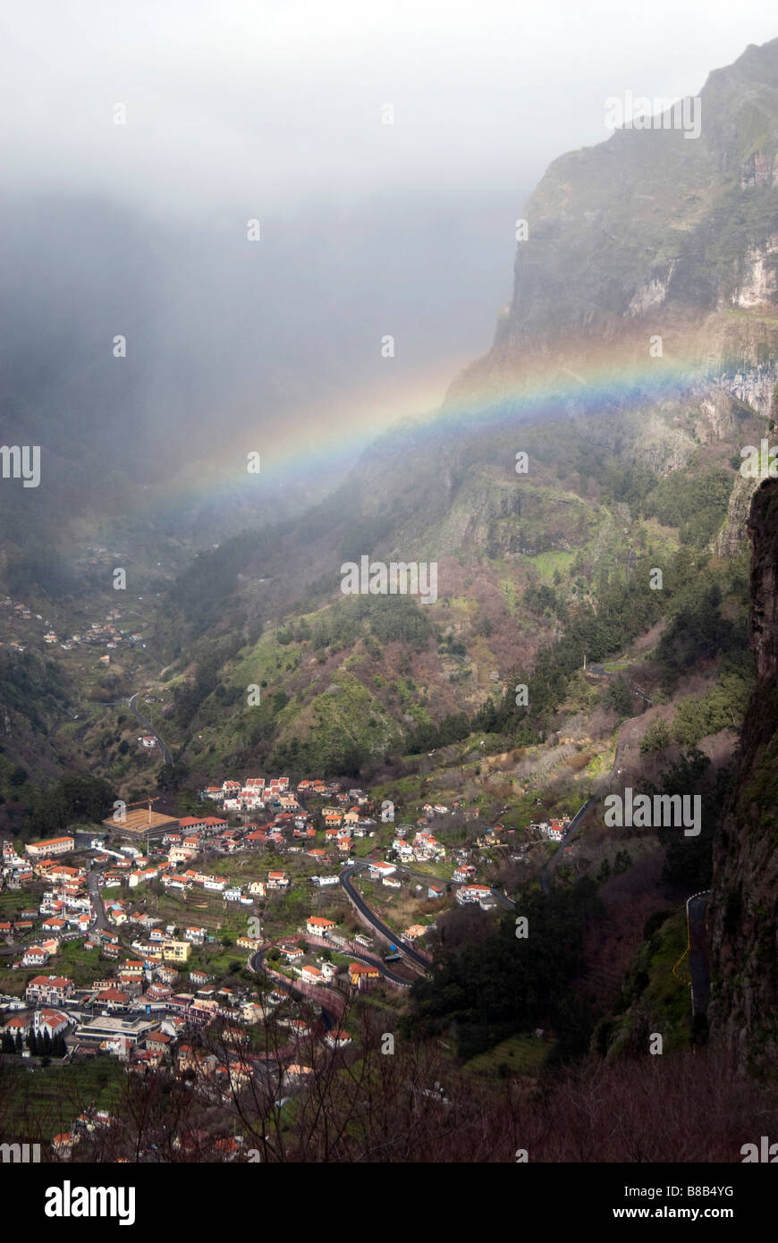 Rainbow over Curral das Freiras, Madeira, Portugal, February 2009 - Stock Image