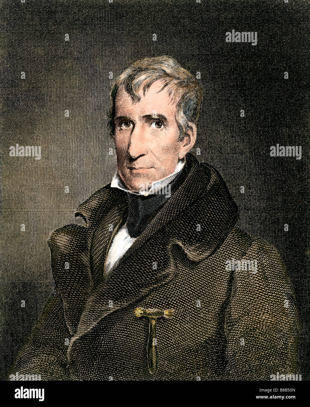 William Henry Harrison President of the US 1841. Hand-colored engraving - Stock Image