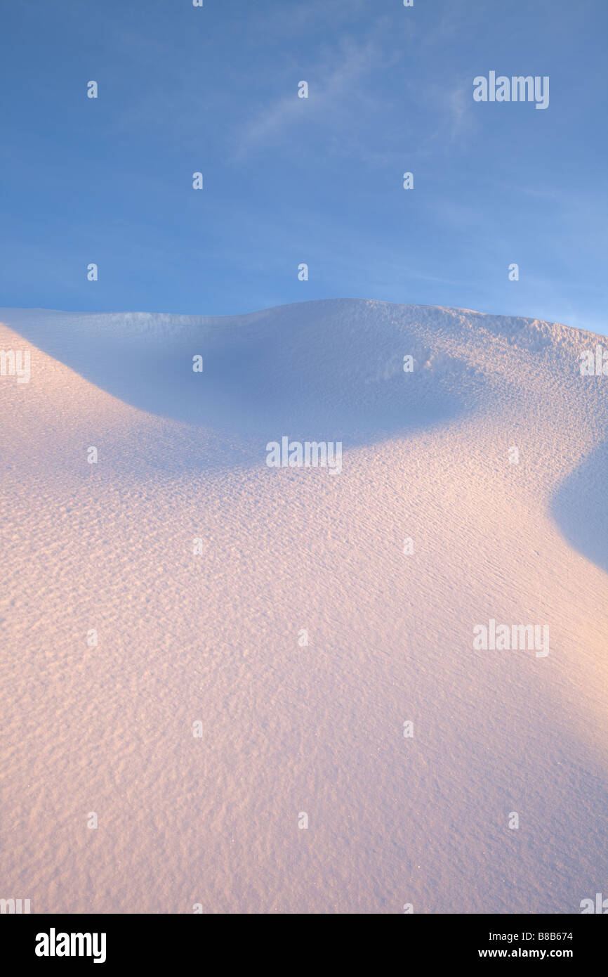 Winter Landscape with sun reflecting on the snow,Estrela Natural Park, Portugal - Stock Image