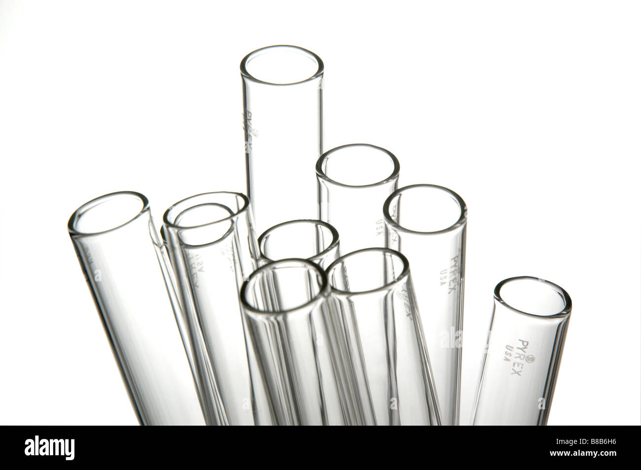 Group of glass test tubes - Stock Image