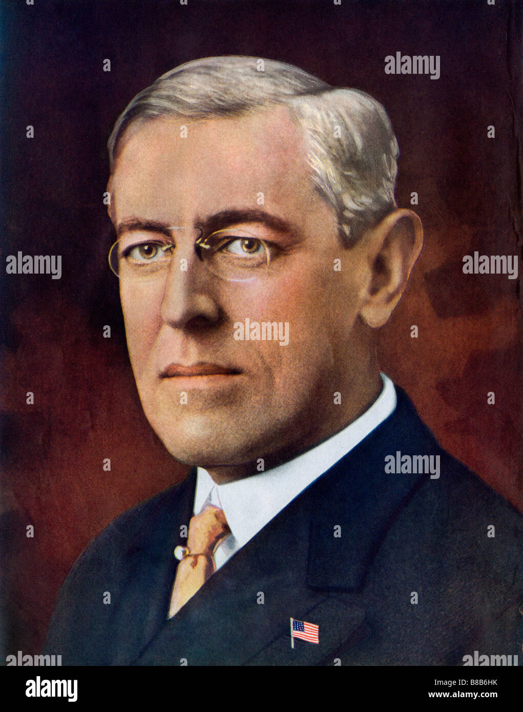 Woodrow Wilson President of the United States. Halftone of a hand-tinted photograph - Stock Image