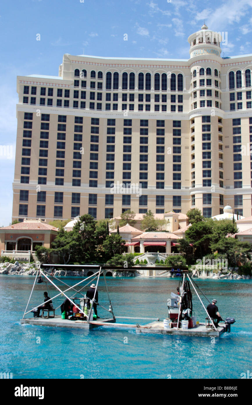 Maintenance being carried out on the Fountains at the Bellagio Hotel in Las Vegas Nevada USA - Stock Image