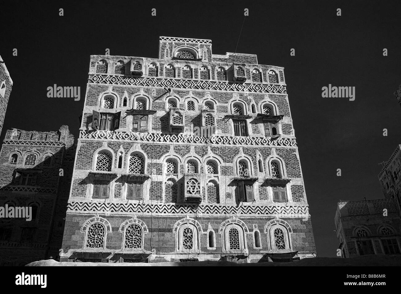 Infra red of Sanaa old town, Yemen - Stock Image