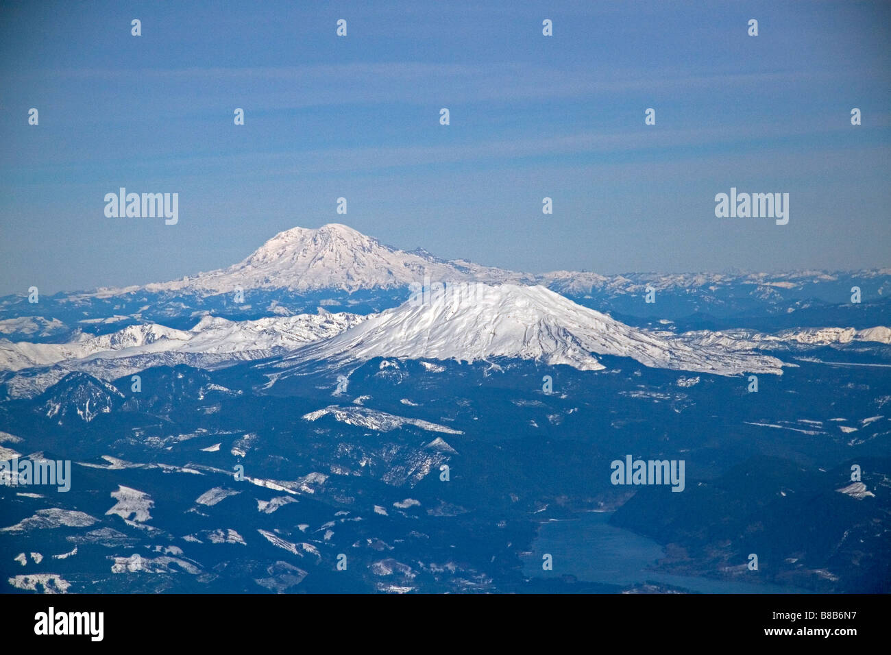 Aerial view of Mount Rainier and Mount St Helens in Washington USA - Stock Image
