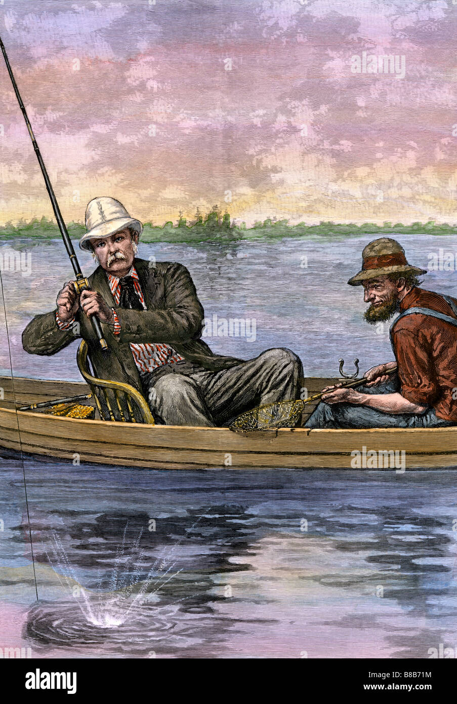 President Chester A Arthur on a fishing trip 1884. Hand-colored woodcut - Stock Image