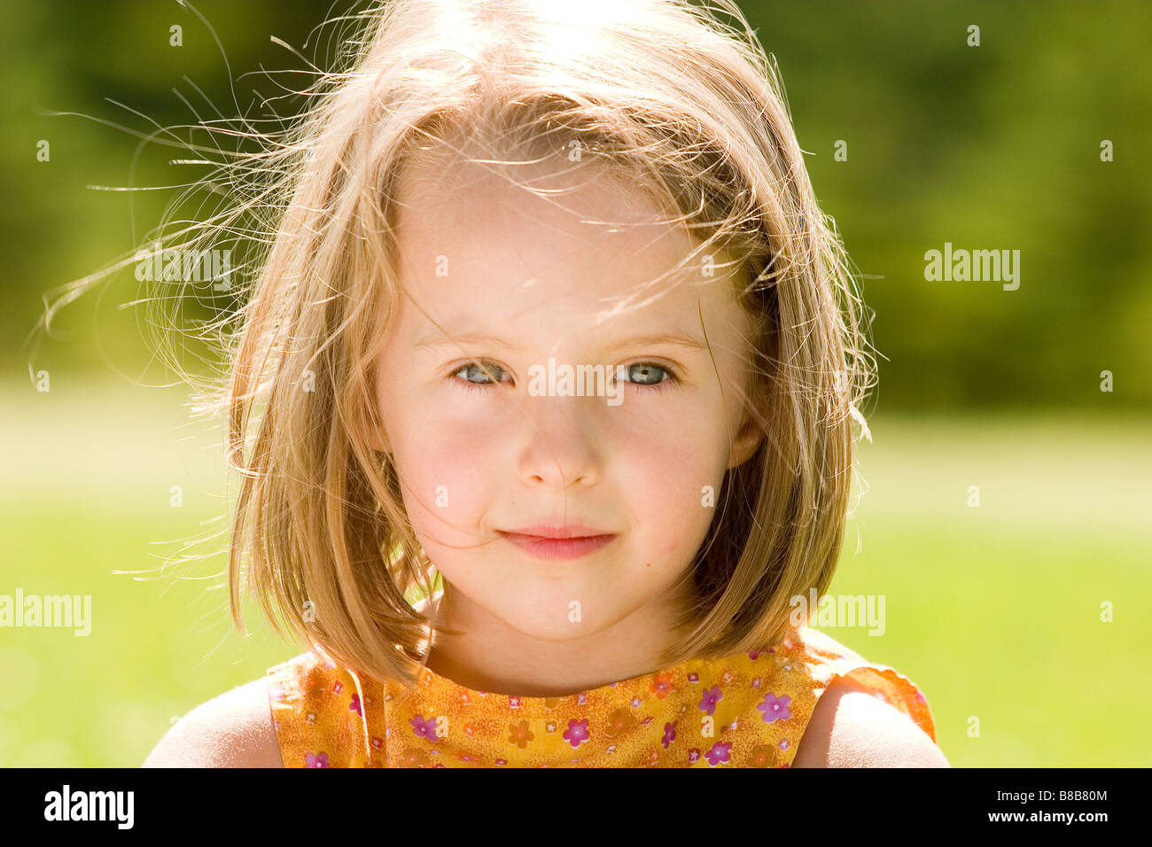 Girl - 6 years old  in the park in the fall, Winnipeg, Canada - Stock Image