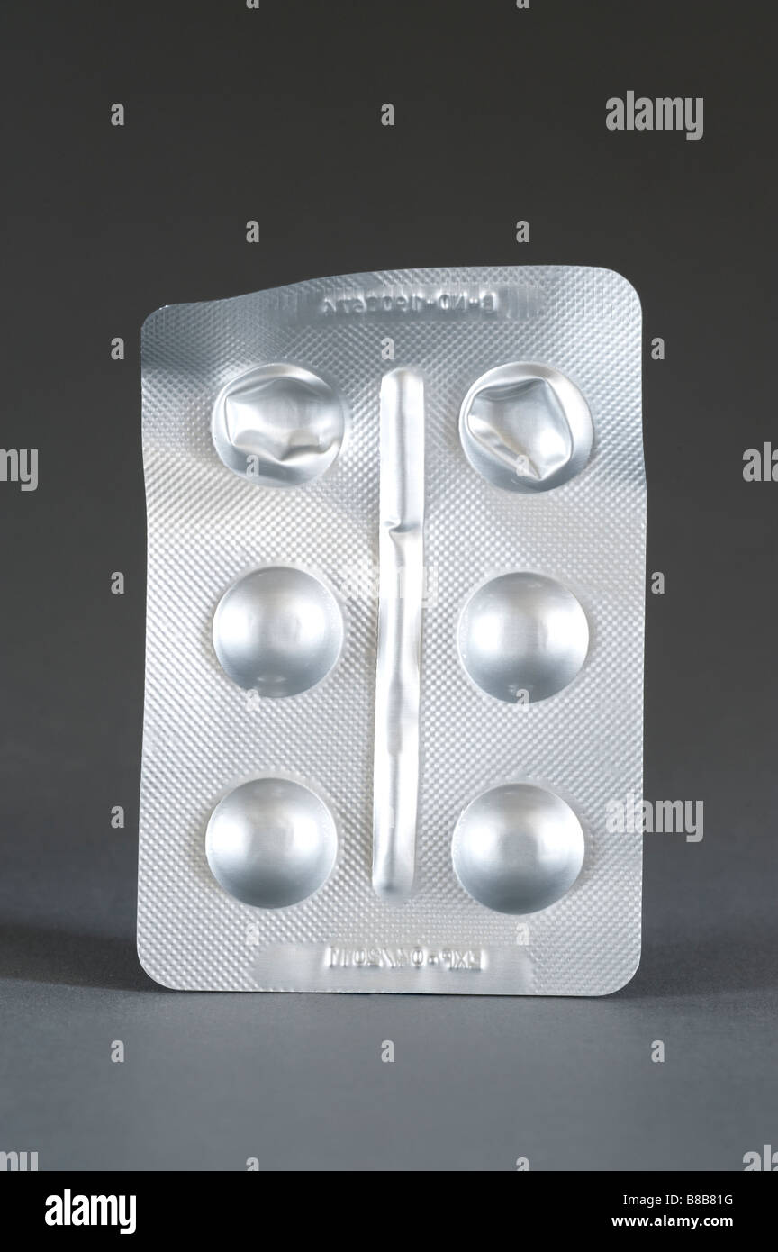 Silver foil blister pack of six tablets Stock Photo