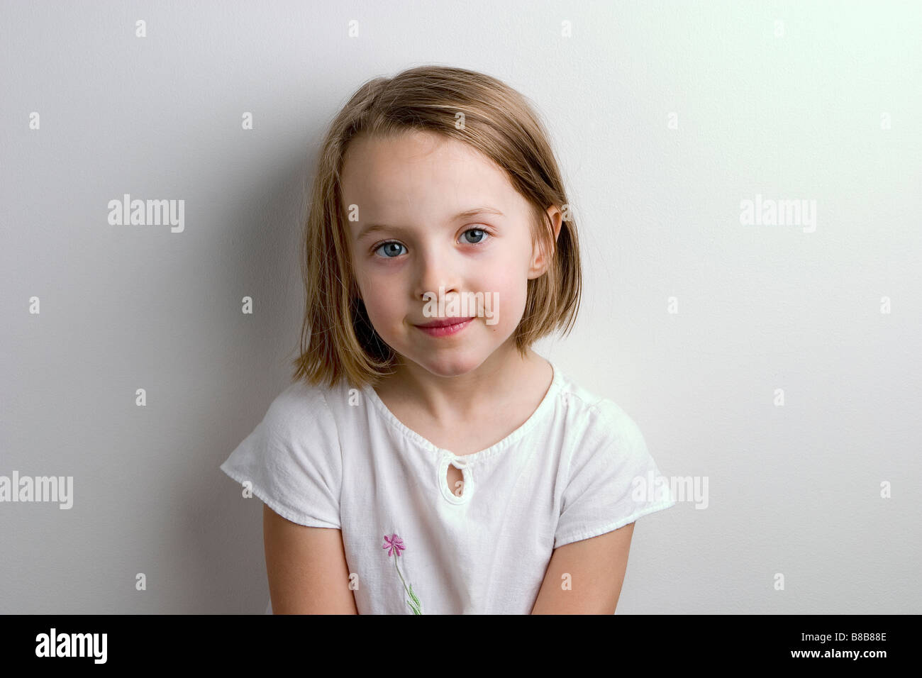 Portrait of 6 year old girl - Stock Image