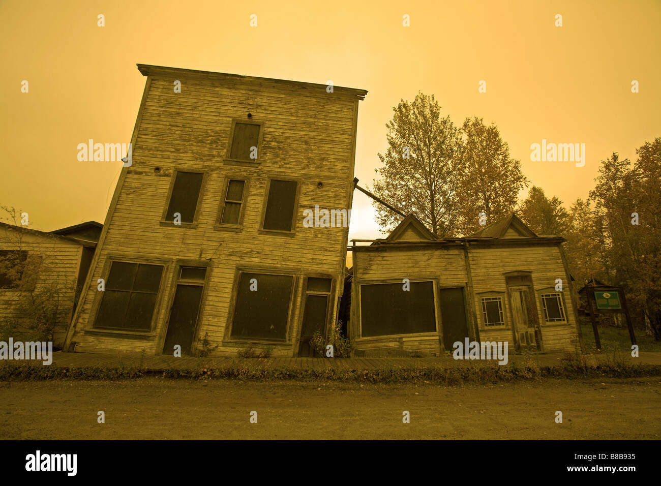Old Buildings affected by Permafrost, Dawson City, Yukon - Stock Image