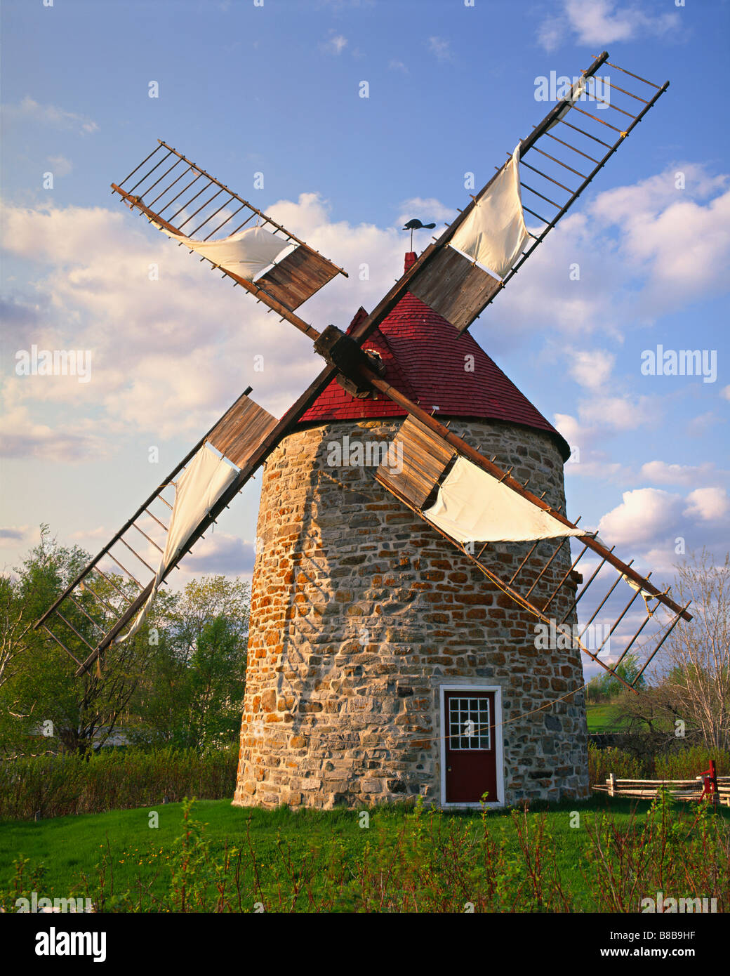 Windmill Built 1836  Isle-aux-Coudres, Charlevoix, Quebec Stock Photo