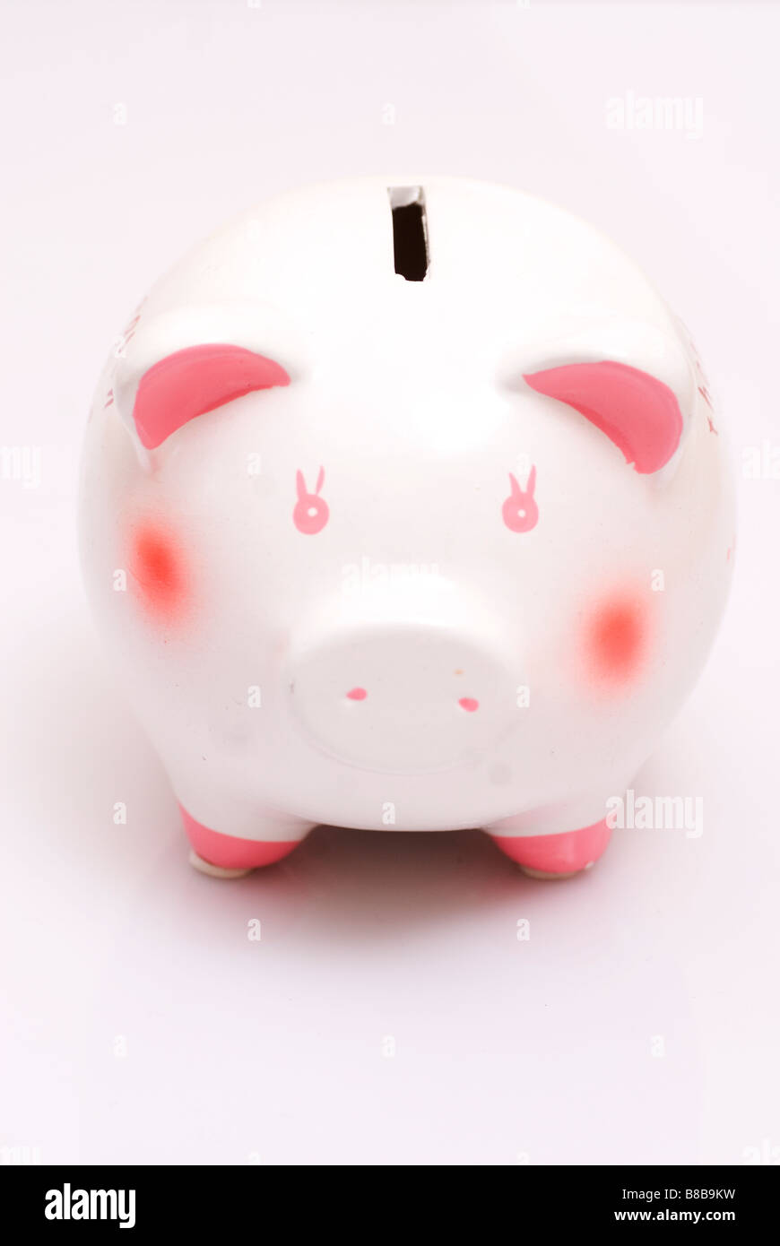 Piggy bank on a white background - Stock Image