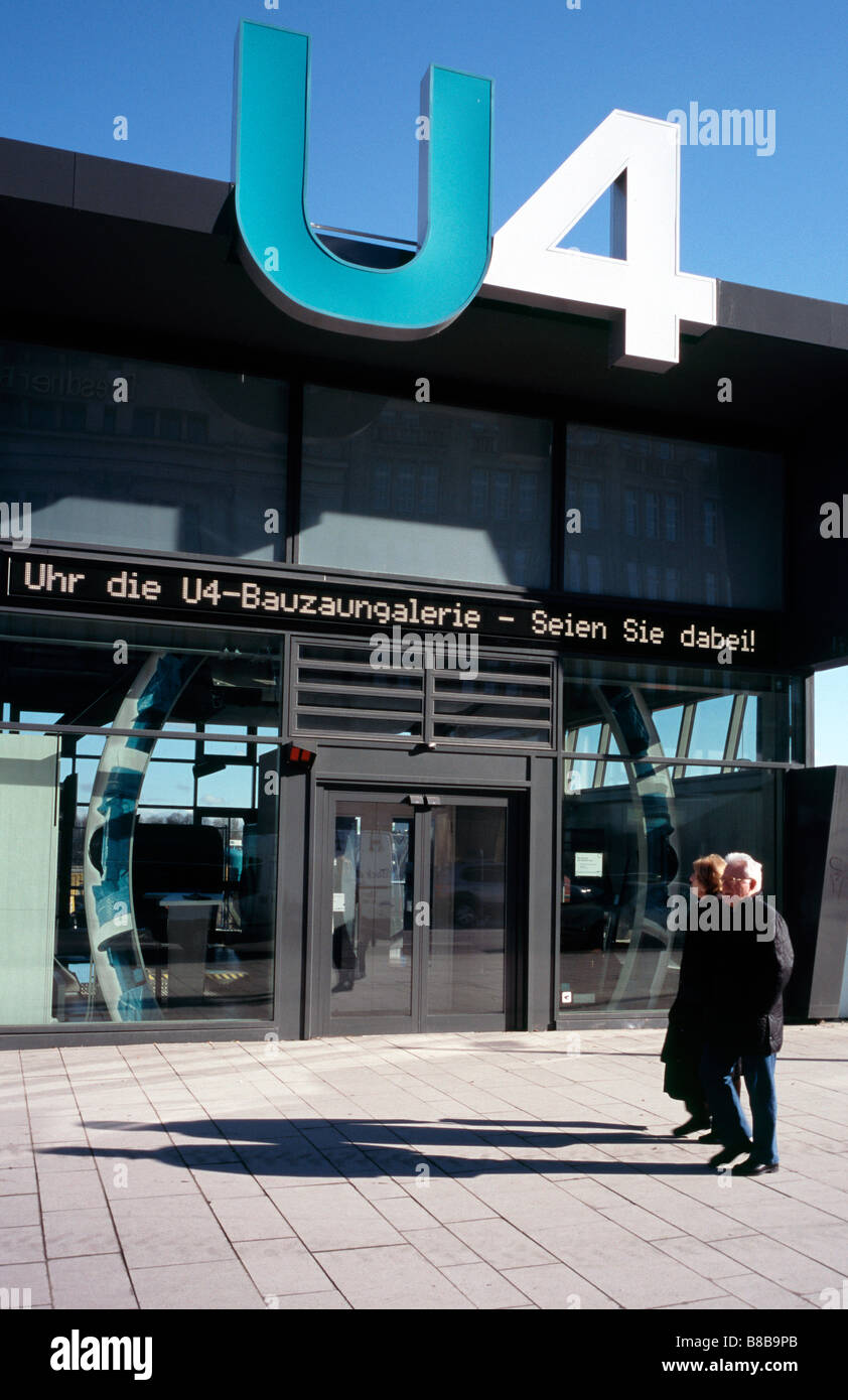 Feb 17, 2009 - Public information point for the new Underground line U4 at Jungfernstieg in the German city of Hamburg. - Stock Image