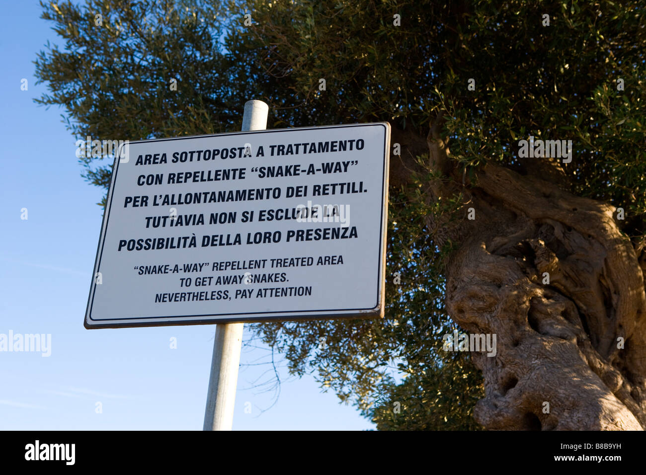 Beware of snakes sign Egnazia Bronze age Greek and Roman excavations Puglia Italy - Stock Image