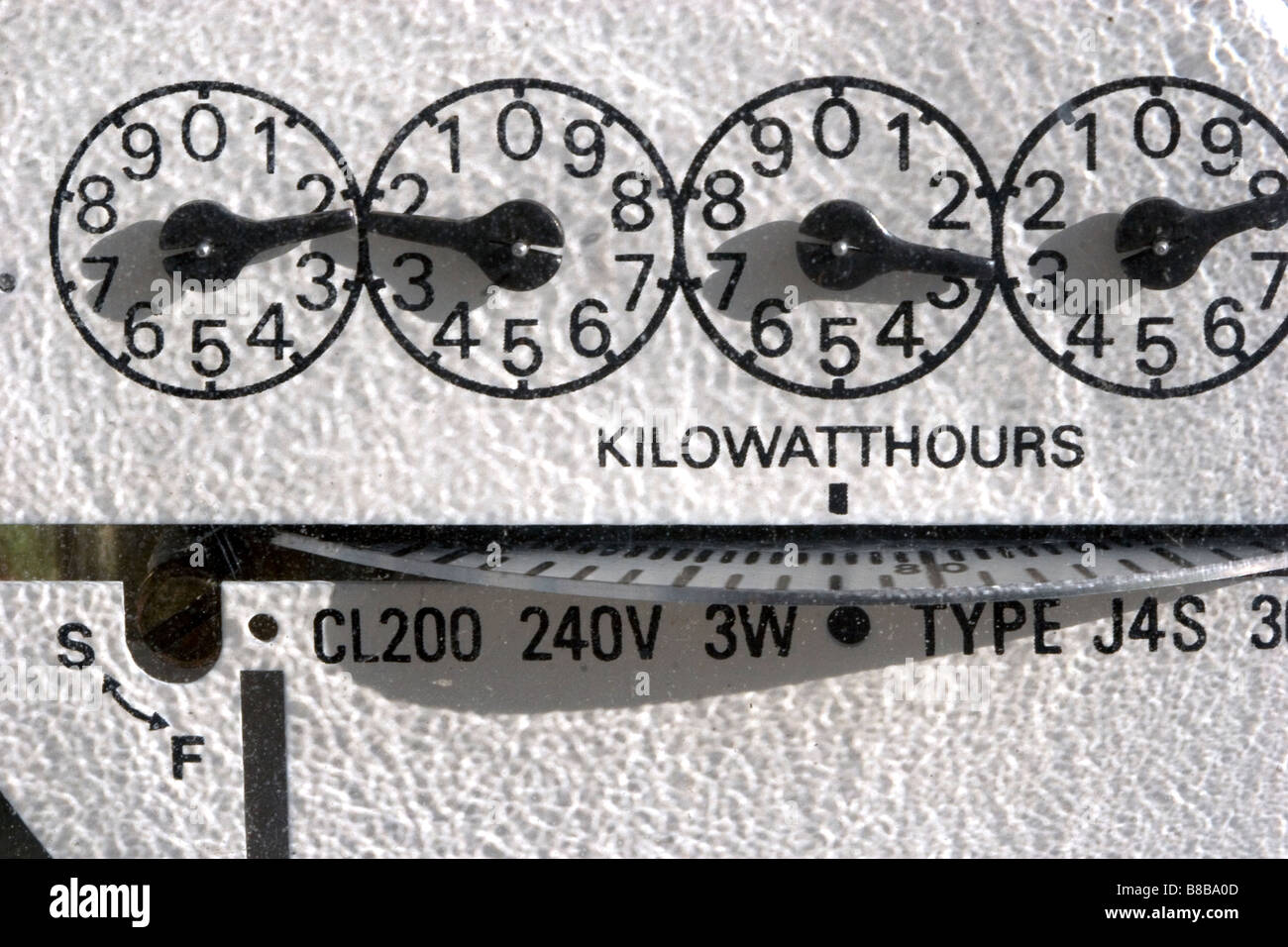 Electric meter measuring the amount of electrical energy supplied to a residence in Boise Idaho USA - Stock Image