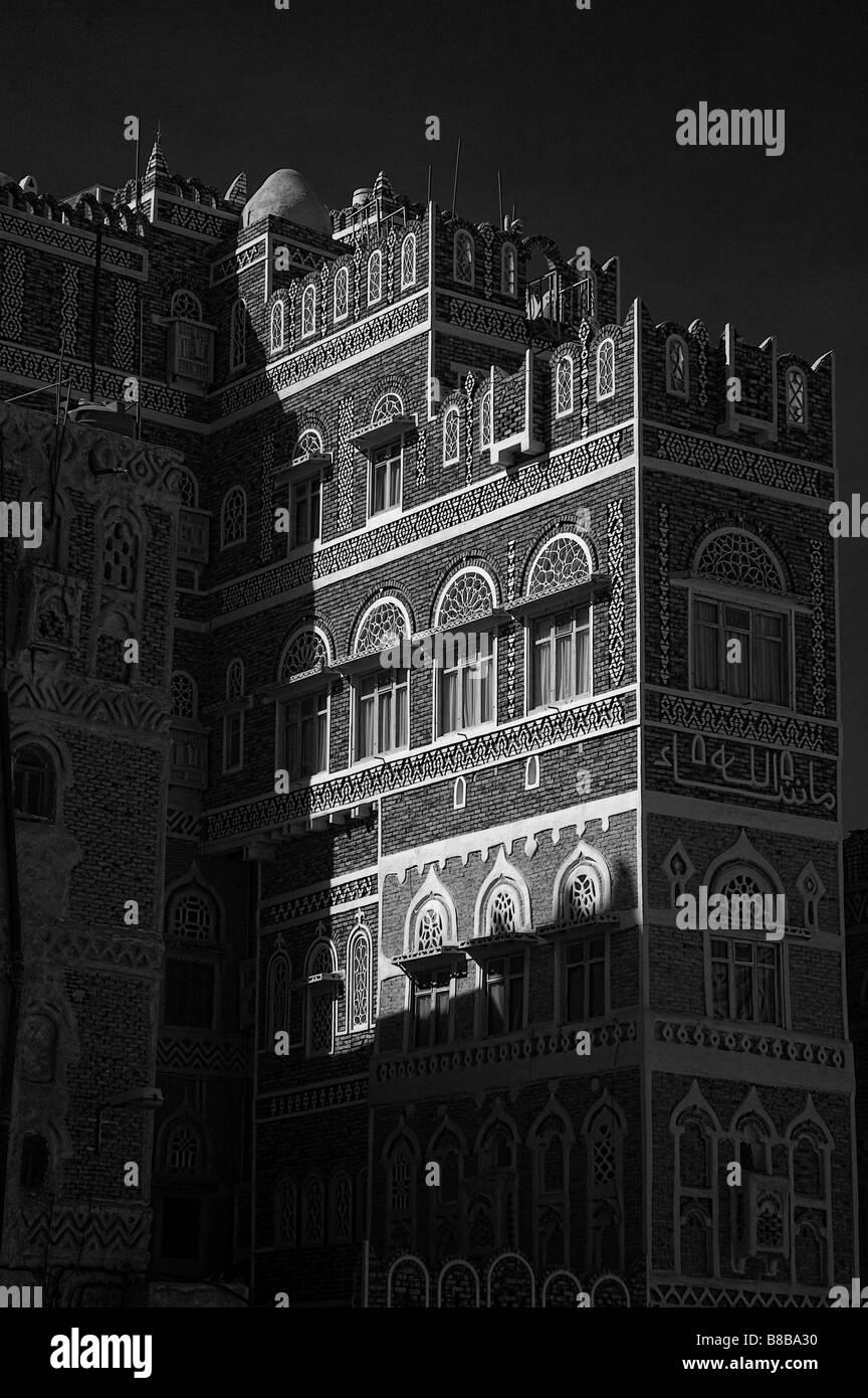 Infrared view of Sanaa old town, Yemen - Stock Image