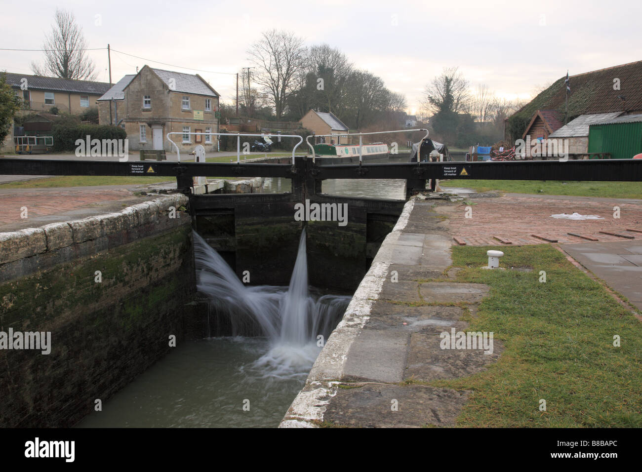 The Kennet & Avon Canal lock gates at Bradford on Avon - Stock Image