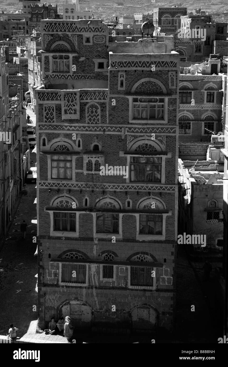 Infrared of Sanaa old town, Yemen - Stock Image