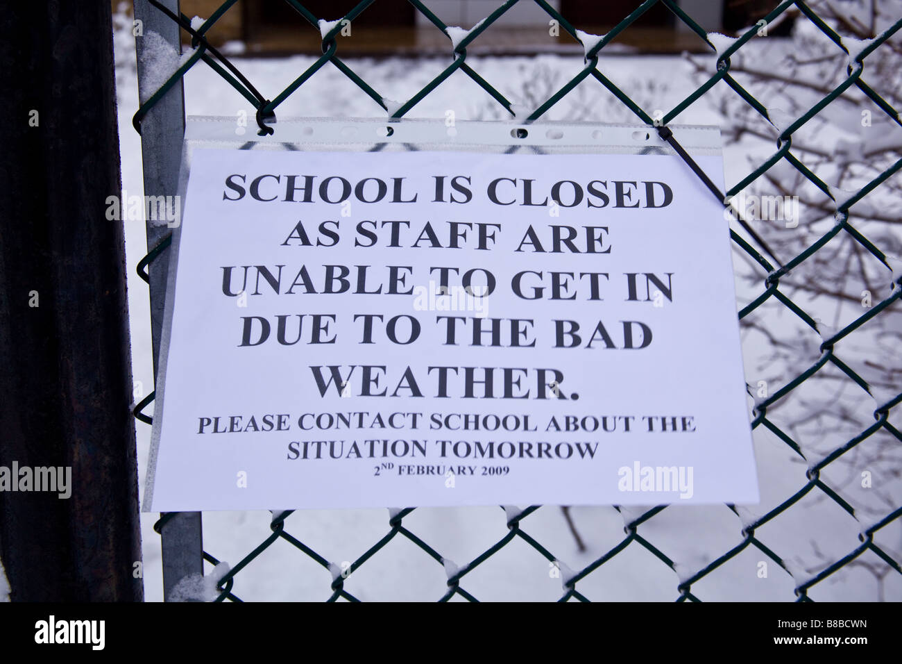 School closed sign due to Snow in Leytonstone London 2nd February