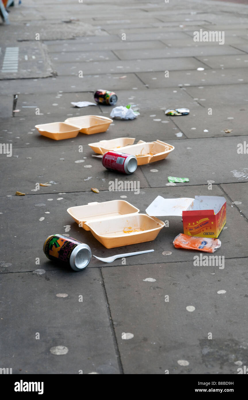 Litter on the pavement, England UK - Stock Image