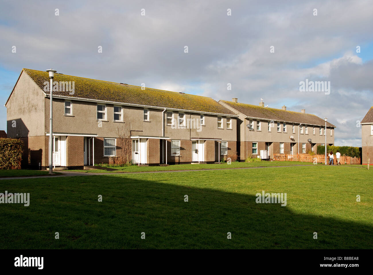 a row of council houses in camborne,cornwall,uk - Stock Image