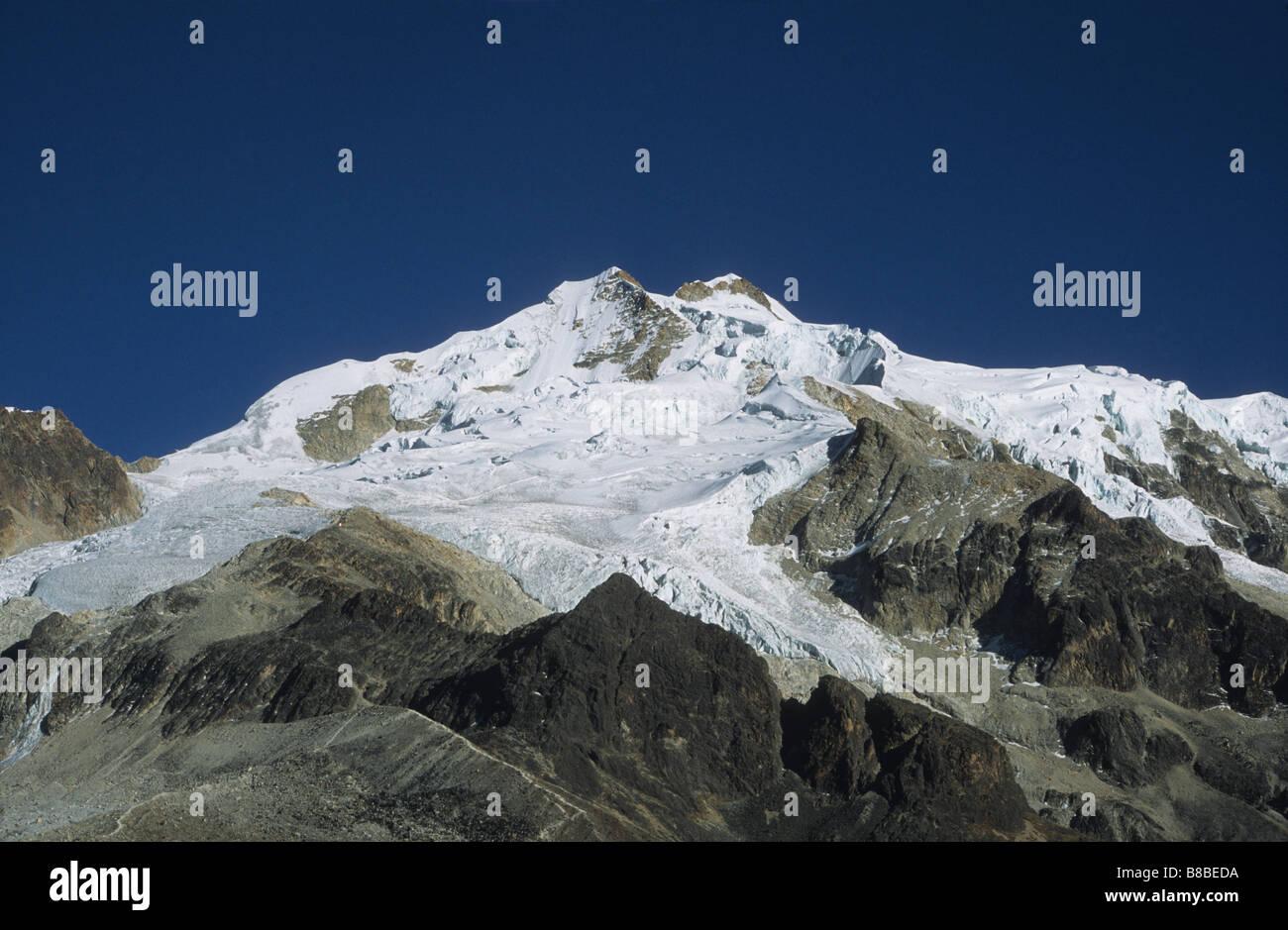 Receding glacier on Mt Huayna Potosi, Cordillera Real, Bolivia - Stock Image
