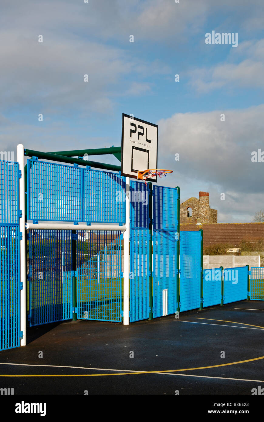 an all weather sports pitch in camborne,cornwall,uk - Stock Image