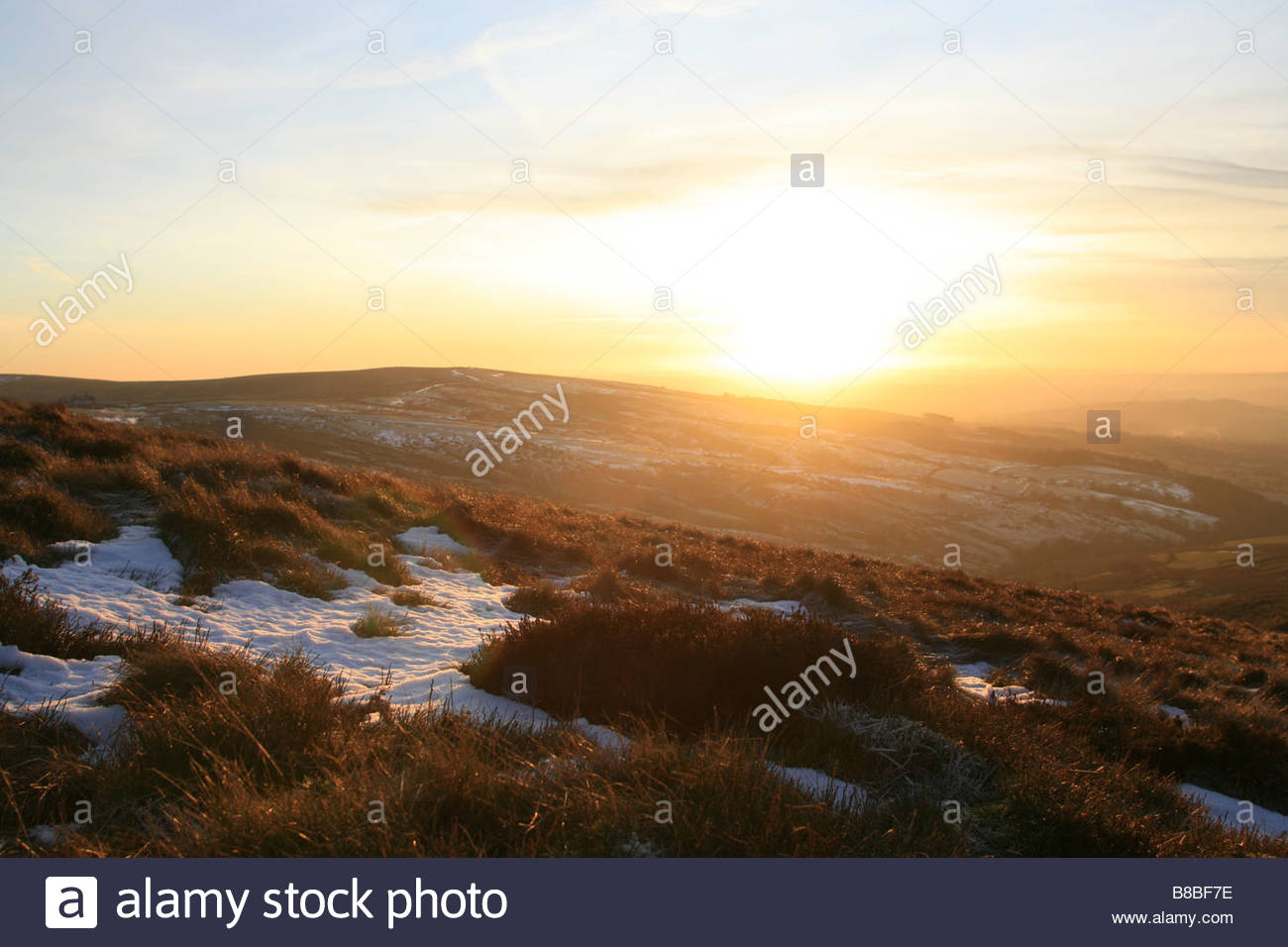 Sunset over Staffordshire Moorlands near the Roaches - Stock Image