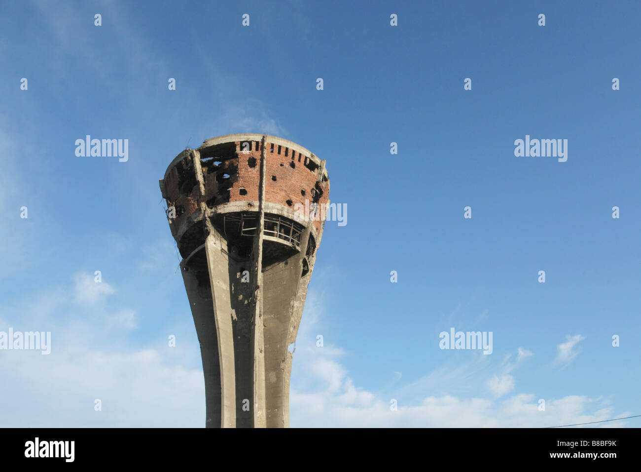 Water Tower Damaged from War 1990's, Vukovar, Eastern Croatia Stock Photo